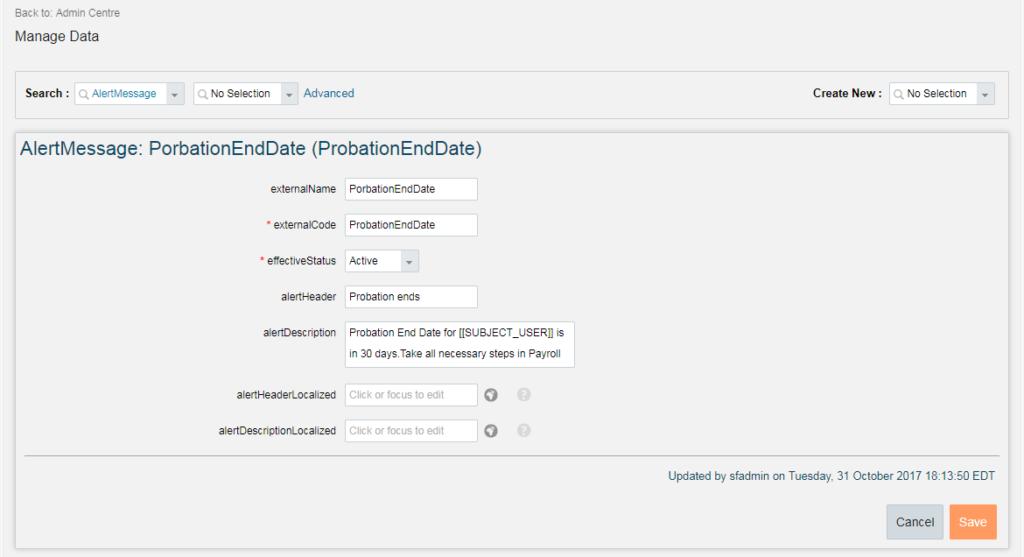 EC - Alerts and Notifications - Cloud HR